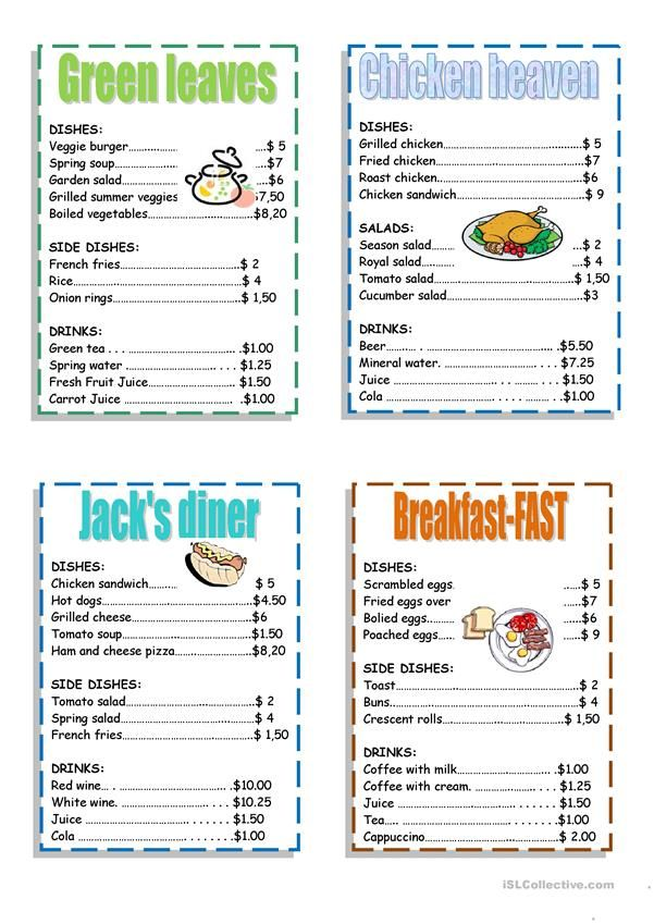Menu Worksheet Free Esl Printable Worksheets Made By Teachers Menu Restaurant Play Menu Daycare Menu