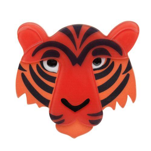 Limited edition, original Erstwilder Taj the Tiger Brooch in orange. Designed by Louisa Camille Melbourne. Buy now
