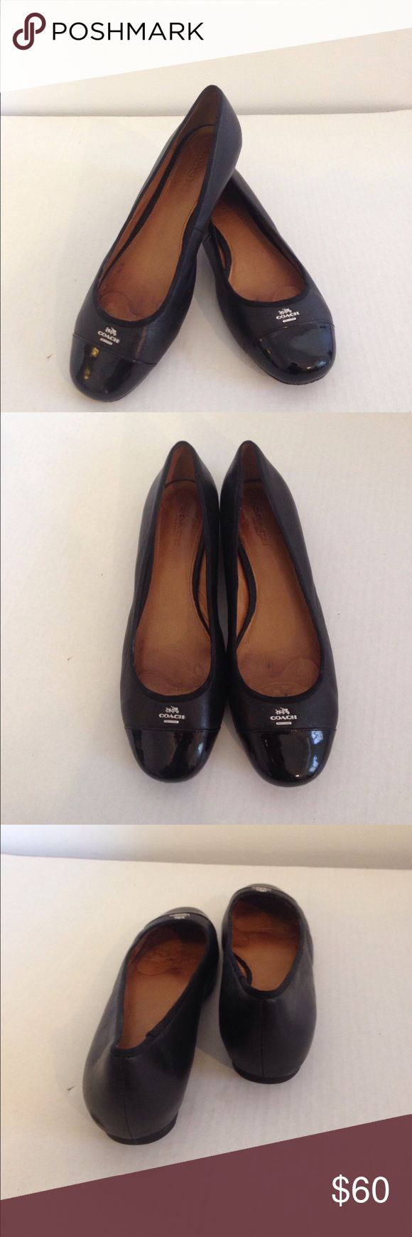 Coach black leather flats size 7.5 Coach black leather flats size 7.5, silver tone hardware. Great condition Coach Shoes Flats & Loafers