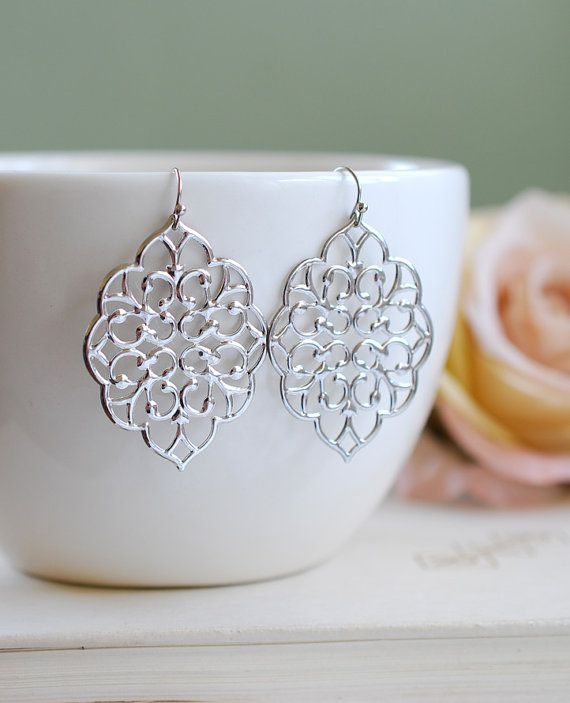 Large silverFiligree Earrings. Boho Chic Moroccan by LeChaim, $18.00