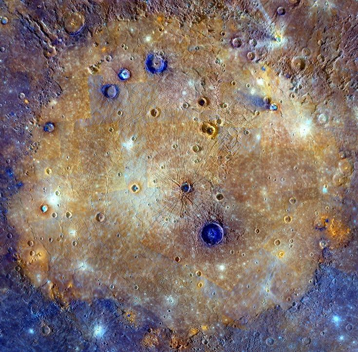 Enhanced Color Caloris: NASA, Johns Hopkins Univ. APL, Arizona State U., CIW The sprawling Caloris basin on Mercury is one of the solar system's largest impact basins