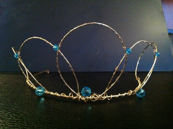Wire Crown and Wand Set Gold with Blue Jewels by WirePrincess, $55.00