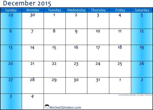 dec 2015 calendar template