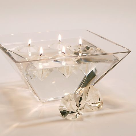 Floating diamond shaped gel candles from Z Gallerie.