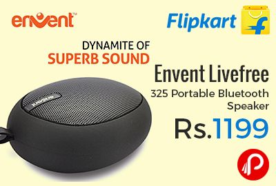 Flipkart #OnlyOnFlipkart is offering 52% off on Envent Livefree 325 Portable #Bluetooth #Speaker at Rs.1199 Only. Music is the life of every party. Memory Card Slot, 600mAh rechargeable battery, 3 W Power Output, This LiveFree 325 speaker from Envent will help you take the liveliness of your party to the next level, and that too without having to meddle with troublesome cables.   http://www.paisebachaoindia.com/envent-livefree-325-portable-bluetooth-speaker-at-rs-1199-only-flipkart/