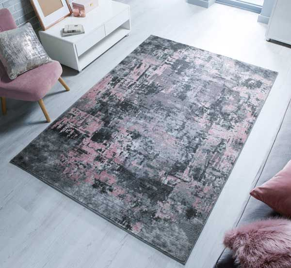 Cocktail Wonderlust Rugs In Grey Pink This Abstract Short Piled Rug Brings A Grand Touch To Any Hallway Bedroom Or Livi Modern Rugs Rugs How To Clean Carpet