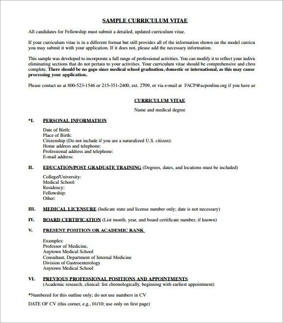 free 7 sample medical cv templates in pdf