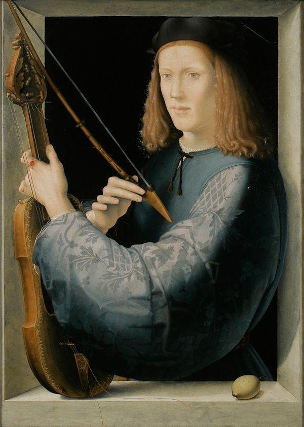 iulcaes:Attributed to Lorenzo di Credi (Florence 1456-1536), Portrait of a Young Man Holding a Lira da Braccio, c. 1510–20, oil on panel