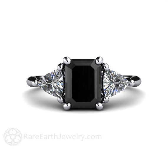 Black Diamond Engagement Ring and Wedding Band by RareEarth