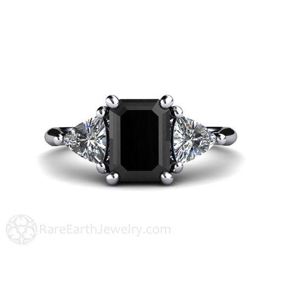 Black Diamond Engagement Ring Vintage Black Diamond Ring 3 Stone with Trillion Diamonds in Platinum