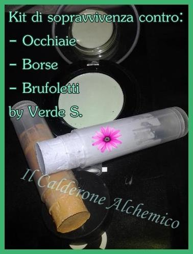 Il Calderone Alchemico Cosmesi Home Made: KIT DI SOPRAVVIVENZA: CORRETTORE ANTI BORSE, OCCHIAIE E BRUFOLETTI (Verde S.)