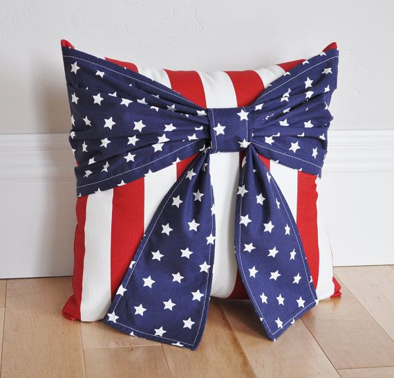 Ready To Ship  Stars and Stripes Patriotic Pillow Red by bedbuggs
