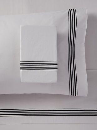 63% OFF Mason Street Textiles Hotel Piping Sheet Set (Steel/Black)