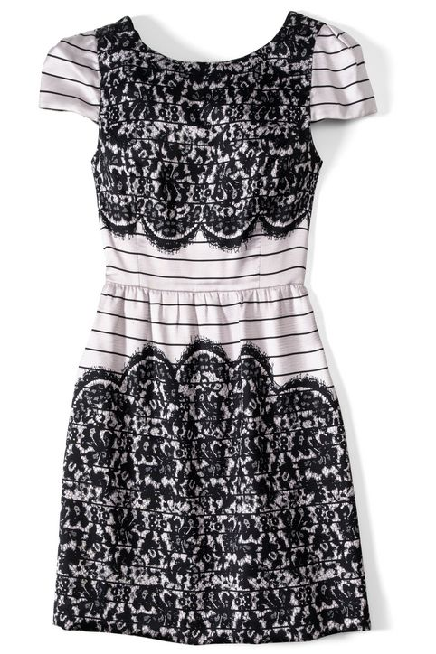 tibi striped party dress with lace details