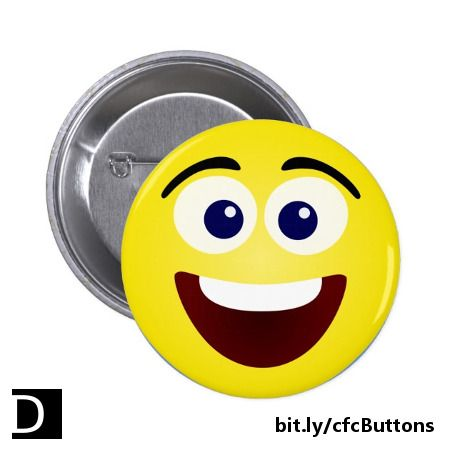 Put a smile on someone's face (or shirt, or hat, or apron, or backpack) with this cute laughing smiley face pin-backed button! #StudioDalio #laughter #emoticon #pin #buttonlovers