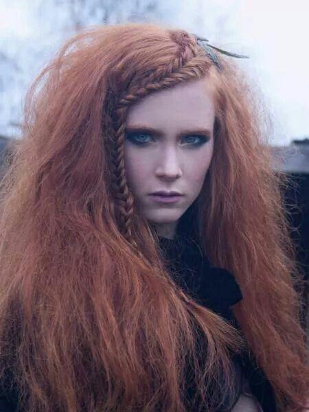 Red hair front braid wild long hair texture