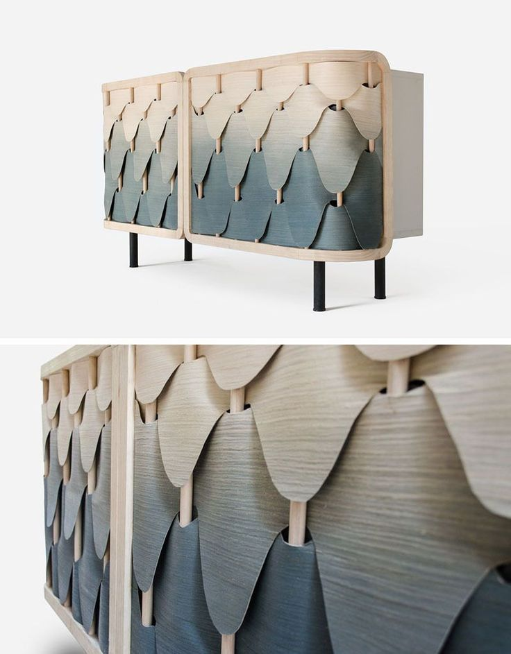 A Gradient Of Colorful Wood Veneers Cover This Cabinet Like Shingles