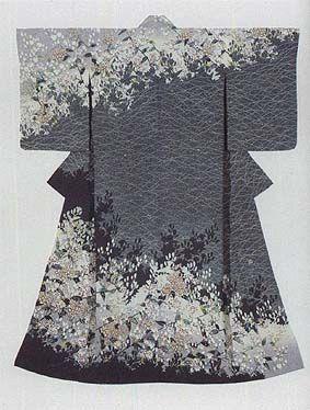 "Kimono with yuzen-zome pattern ""Village in Autumn"" by Hata Tokio, Japanese National Living Treasure"