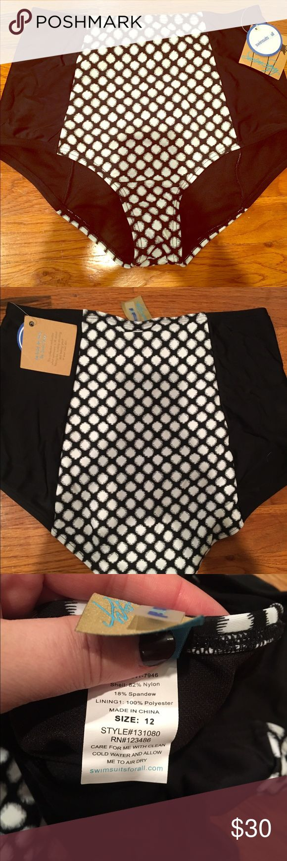 New High waisted black and white bikini bottom High waisted black and white bikini bottoms- new with tag. Never worn. Size 12 swimsuitsforall Swim Bikinis