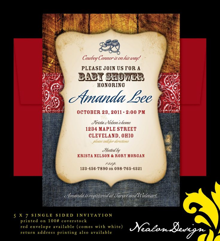 25+ best cowboy invitations ideas on pinterest | cowboy party, Baby shower invitations