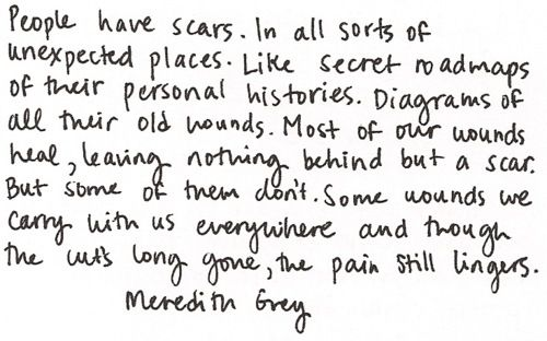 """People Have Scars. In All Sorts Of Unexpected Places"