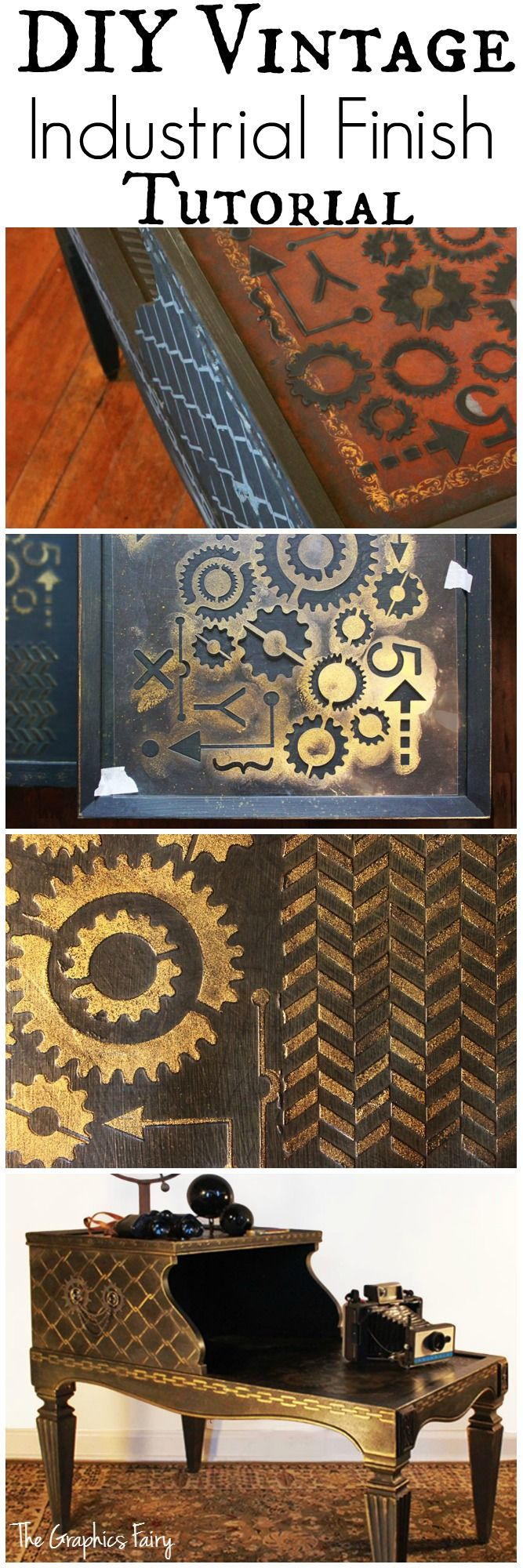 Vintage Industrial Finish Technique! - Graphics Fairy. Great Technique for Furniture, DIY Home Decor and Crafts!