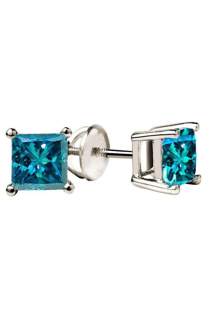 Blue Diamond Studs In 14K White Gold.