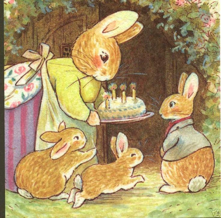 "Momma rabbit,birthday party,""make a wish rue"" cake,foxwood,england postcard"