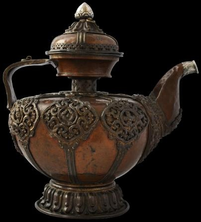 Tibetan Teapot - 18-19th century, copper with bronze and silver mounts. Makes a stunning accent piece.
