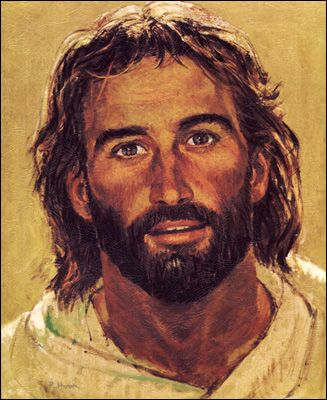 """""""Head of Christ"""" by Richard Hook.  This is my most favorite picture of Christ.  I don't pray to or worship icons or pictures, but this lovely portrait hung above my grandmother's kitchen table for 30 years and I received it after her death.  Not many paintings of Chirst portray him as the rugged and strong carpenter that He was.  I am always touched by the mixture of strength and love portrayed in His eyes."""