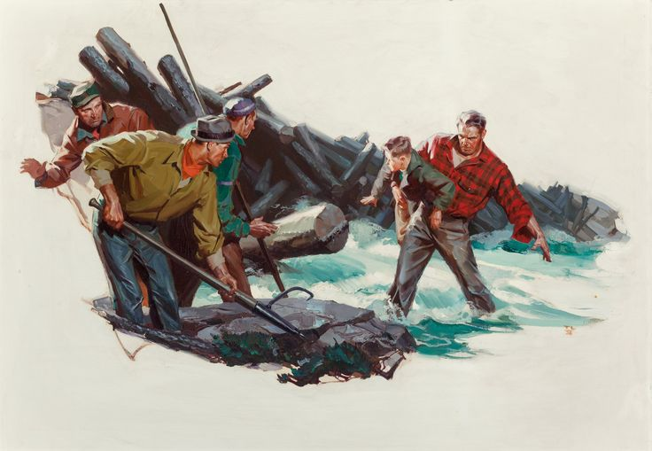 Tom Lovell (American, 1909-1997). Lumberjack Rescue, probable   LotID #13005   Heritage Auctions