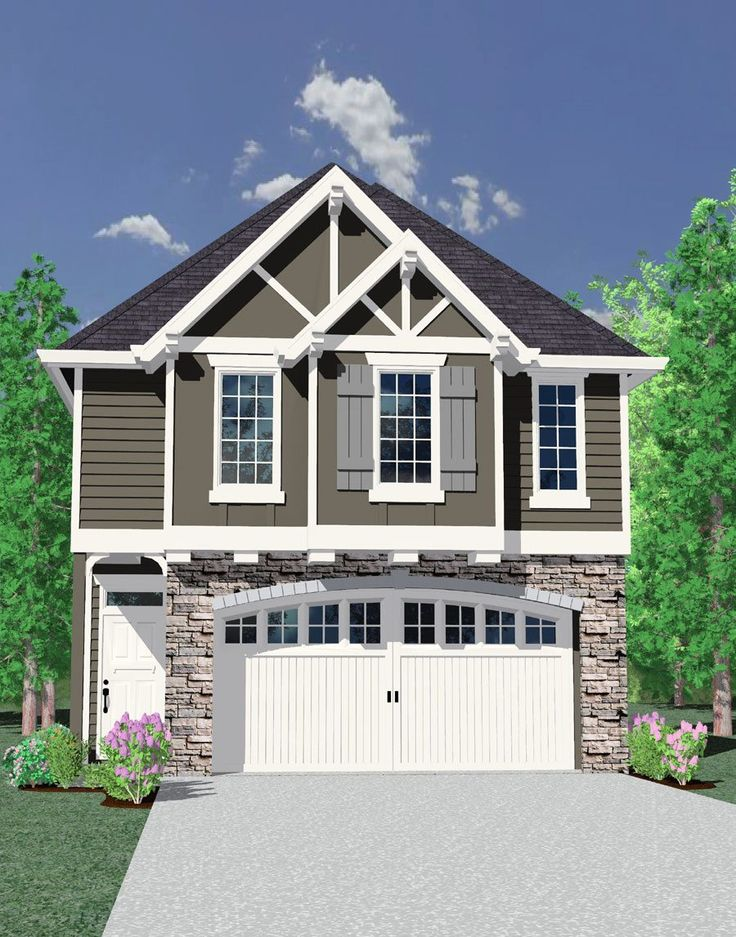 25 best ideas about two car garage on pinterest garage for Craftsman home plans for narrow lots