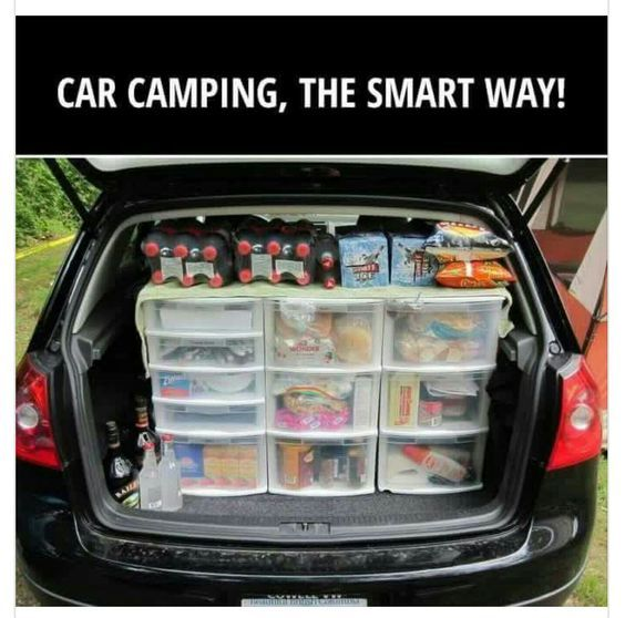 12 Secrets for Stress-Free Camping - use plastic bins to organize the back of your vehicle for easy, clean and organized access to all of your supplies.