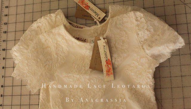 White spandex lining ivory skirt leotard alencon lace