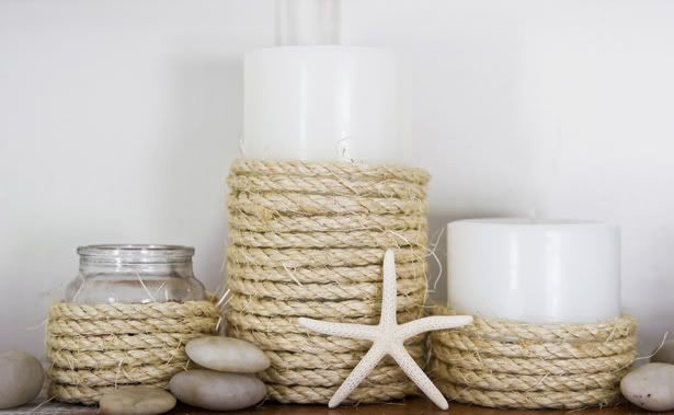 #1: Super Easy Diy- Dollar Store Candles & Votives    #1: I did this one with shells, rocks, and beach wood I found + Dollar store vases and holders, and candles I either already had, or bought at the dollar store. Great idea! And it looks beautiful = not tacy! =3