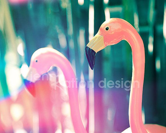 Pink Flamingos 1950s Kitsch 8 x 10 Photograph by JennRationDesign, $25.00
