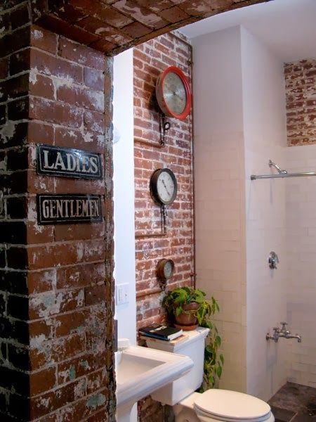 Exposed brick for downstairs loo  Baños Modernos - Baños Vintage - Ideas