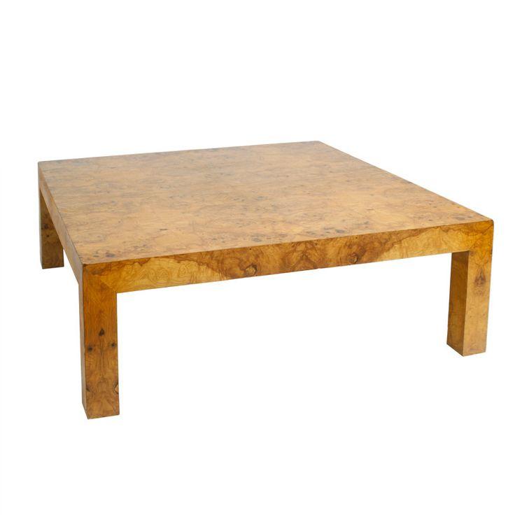 Milo Baughman Olive Burl Square Coffee Table