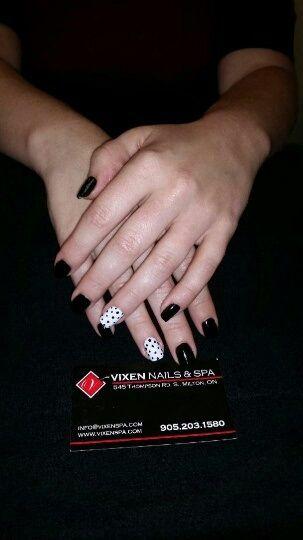 Dotted Black Shellac Manicure www.vixenspa.com
