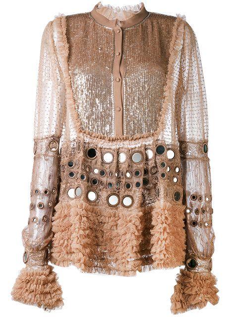 Shop Amen semi-sheer ruffled blouse.