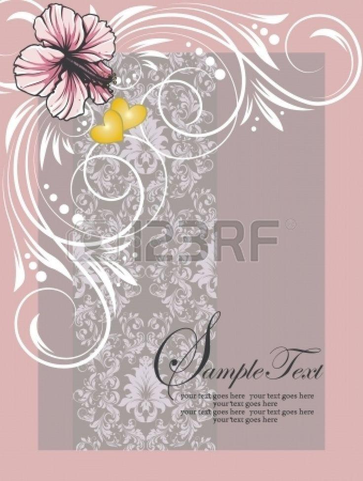 rosa swirly carta di invito floreale Vector
