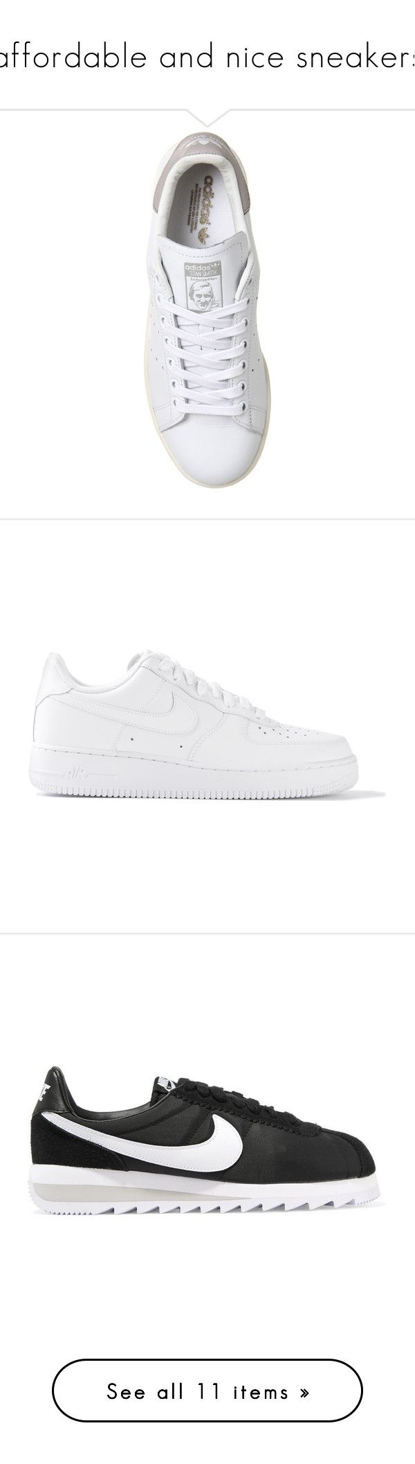 """""""affordable and nice sneakers"""" by blendingtwostyles ❤ liked on Polyvore featuring shoes, sneakers, adidas, striped shoes, stripe shoes, tennis trainer, tennis shoes, nike, chaussures and white"""