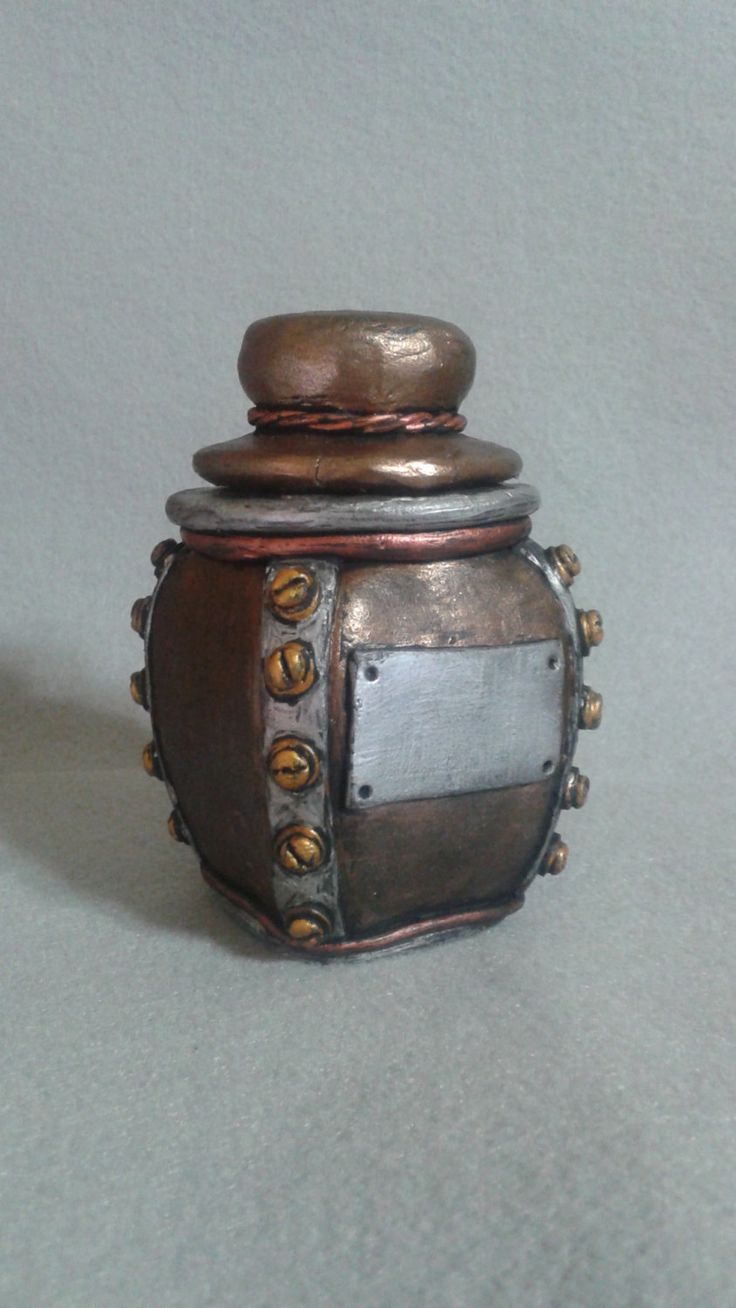 Steampunk mini stash jar, industrial polymer clay over glass container - pinned by pin4etsy.com