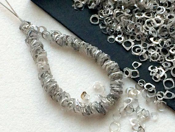 8 Inch Dark Grey Rough Diamond Rings Unique Bangle Cut Loose
