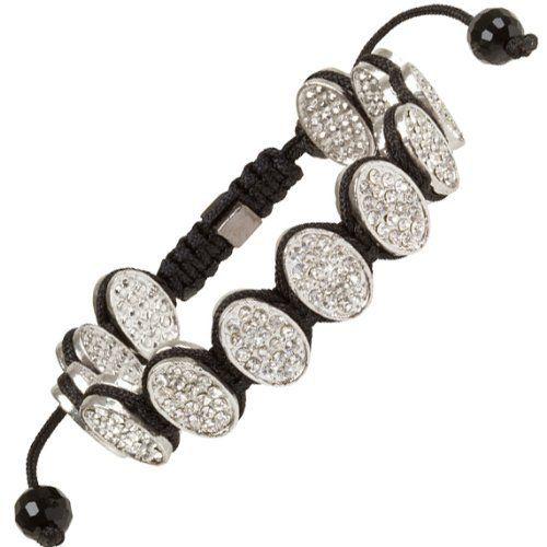 """Heirloom Finds Micro Pave Crystal Oval Disks Hip Hop Shamballa Bracelet Heirloom Finds. $14.99. Bracelet adjusts from 7"""" to 11"""". 14mm Silver Tone Oval Discs Encrusted with Clear Pave Crystals. Wear Alone or with other bracelets. Arrives Gift Boxed!. Perfect for a Man or Woman"""