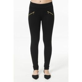Black skinny pants with gold zippers