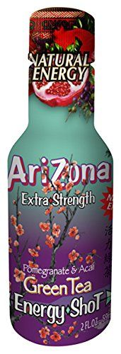 AriZona Energy Shot - Green Tea w/ Pomegranate, Extra Strength, 2oz, 12 pack:   strongCompany:/strong AriZona Tea is America's #1 selling iced tea brand and we are introducing AriZona Extra Strength Energy Shots./p strongEnergy:/strong The energy and caffeine comes from a natural source, Green Tea! There are 230mg of caffeine in every shot, equivalent to a premium cup of coffee./p strongIngredients:/strong We use fruit juice to create great tasting shots and keep our ingredient deck cl...