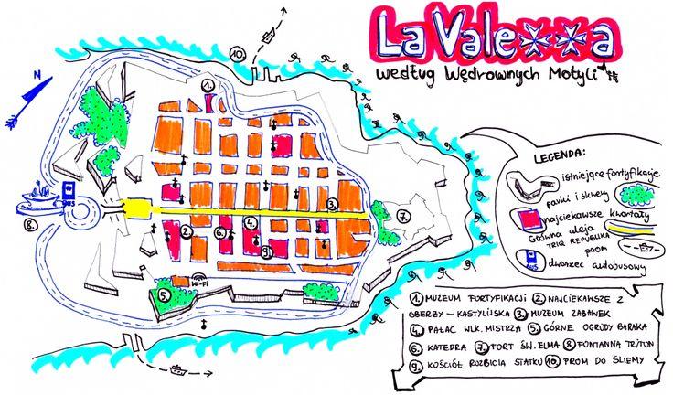 Malta La Valetta mapa #drawingmap #valetta