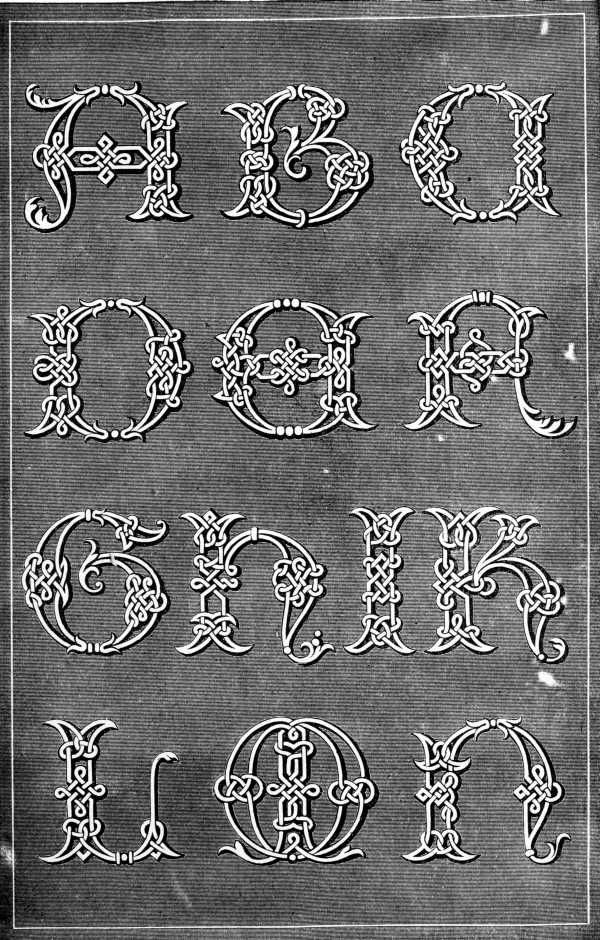 FIG. 878. ALPHABET IN SOUTACHE. LETTERS A TO N.