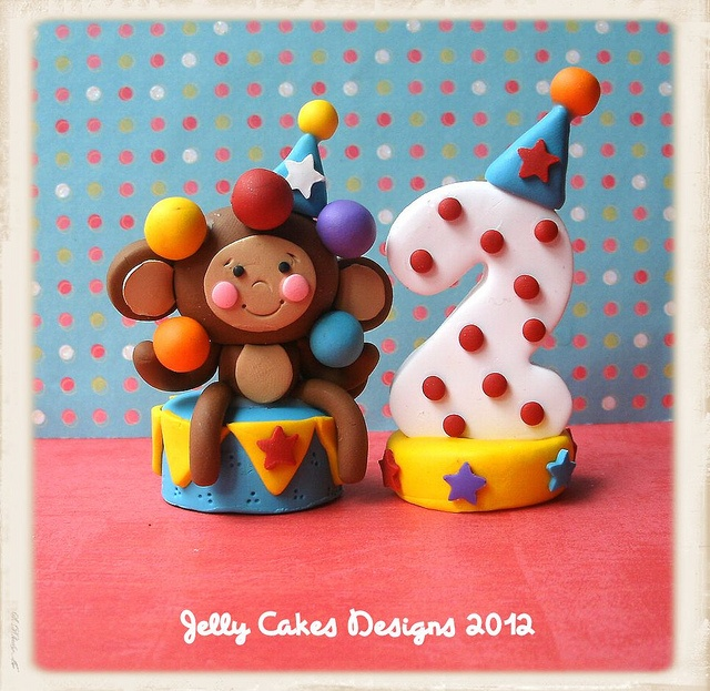 monkey and number cake toppers by Jelly Cakes, via Flickr